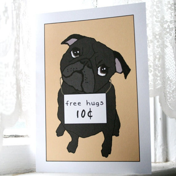 Black Pugs and Free Hugs Cards - Set of 4