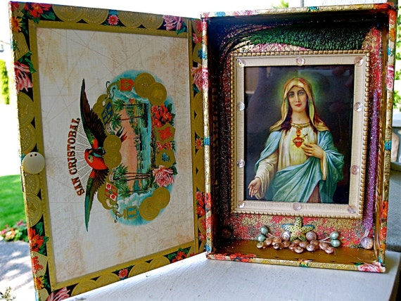 Colorful Mary Cigar Box Shrine