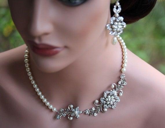 Bridal Pearl Necklace, Vintage Rhinestone Flowers and Leaves, Swarovski crystal wedding necklace  Sabine garden