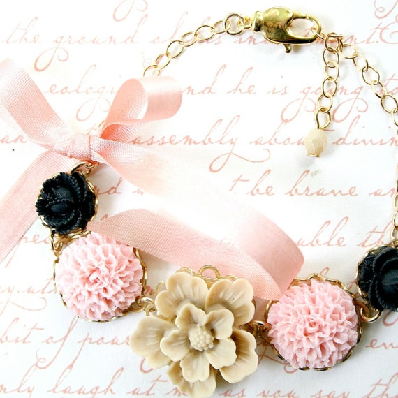 Blush and Black Adjustable Flower Bracelet