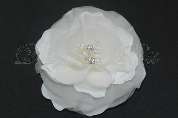 BM13 - W - Bridal White Silk Hair Flower with Spray of Swarovski Pearls, Rhinestones and Crystal Center