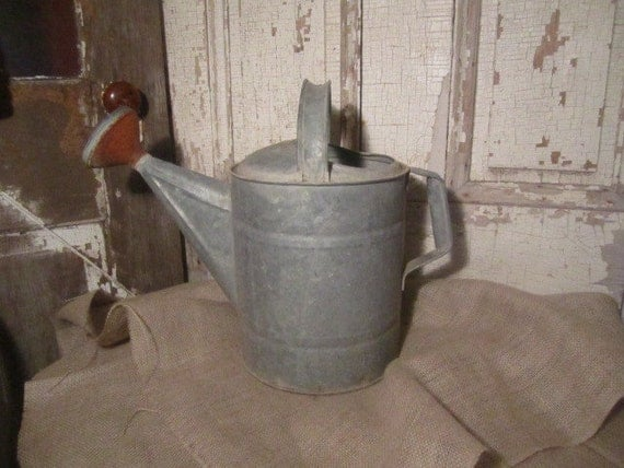 RESERVED for April - Vintage Galvanized Watering Can - Country Living - Water Fountain Ready