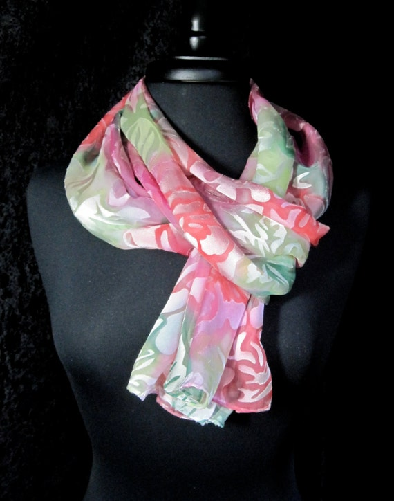 Hand Painted Satin Devore Scarf