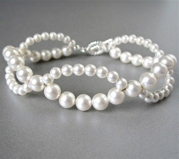 Woven Swarovski pearl bridal bracelet