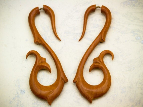 Fake Gauges - Sabrina Drops Tan Wood Earrings