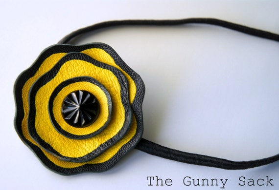 The Alexis Leather Flower Headband in Yellow and Black