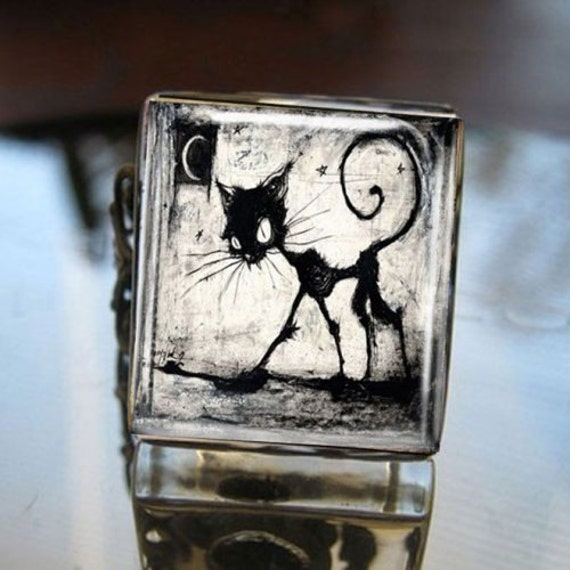 Glass Tile Adjustable Filigree Ring-Gothic Black Cat Halloween
