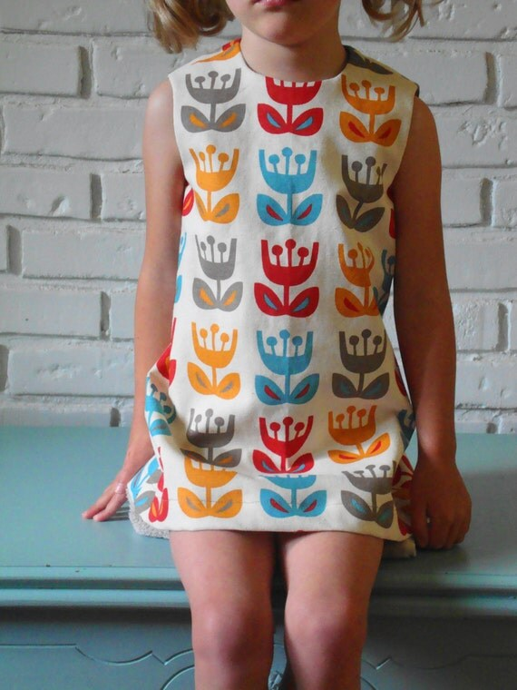 ingrid dress. outside oslo tulips. scandinavian. retro mod vintage inspired style. handmade by little ticket on etsy.