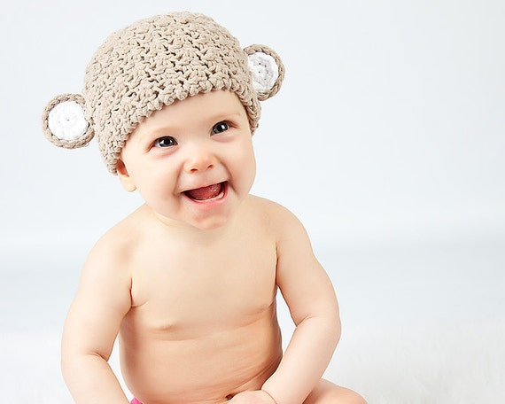 Cotton crochet monkey hat in your choice of color sized newborn to 2T