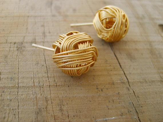 Sweet pompom stud earrings in gold, gold studs, gold stud earrings