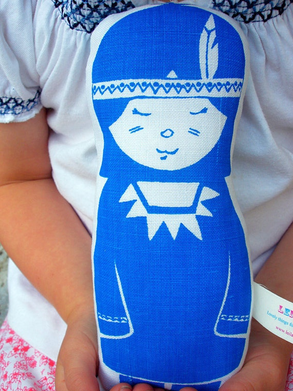 Kyla  Screen Printed Doll in blue - Ready to ship