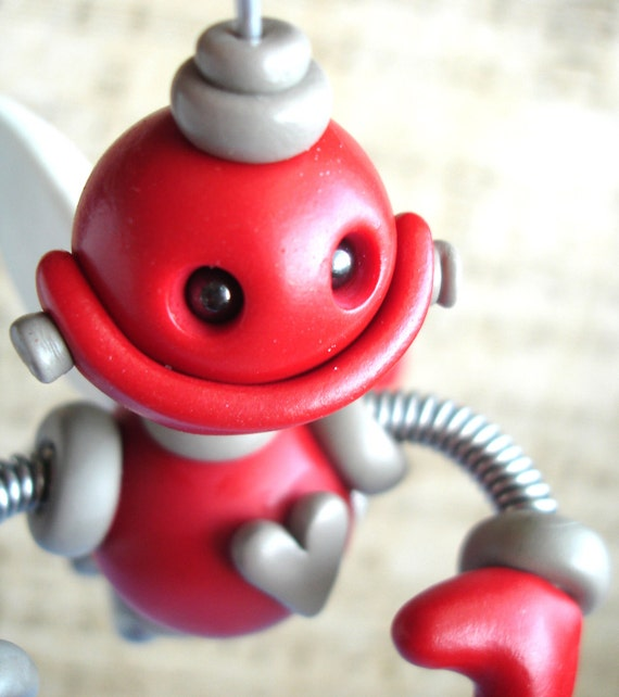 Red Rigby Angel Robot Christmas Ornament - Polymer Clay, Wire