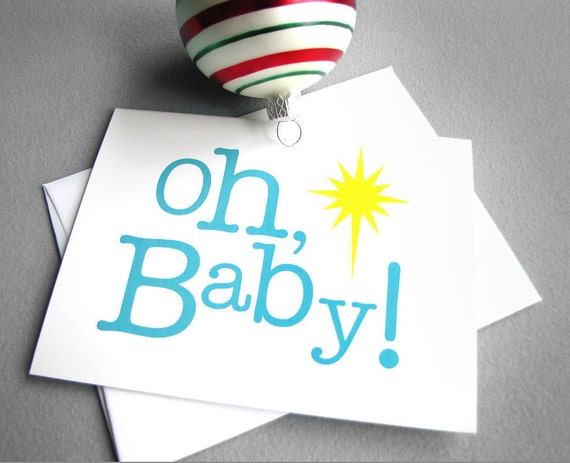 Christmas cards - Oh, Baby - Set of 5 blue, yellow and white simple, modern Christian religious Christmas cards