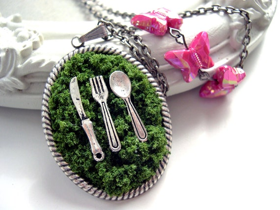Picnic in the grass Long necklace Gothic Lolita
