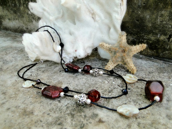 End Of Year Sale  Jamaican Otaheite Apple - Crimson and Black Beaded Necklace