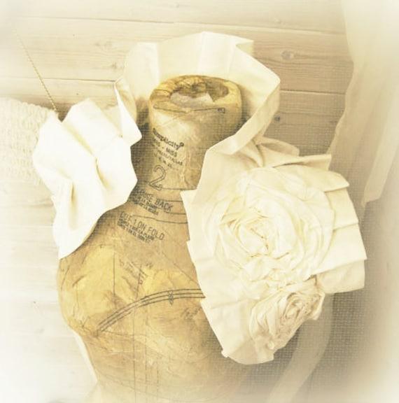 IVORY Corsaged Silk Wrap