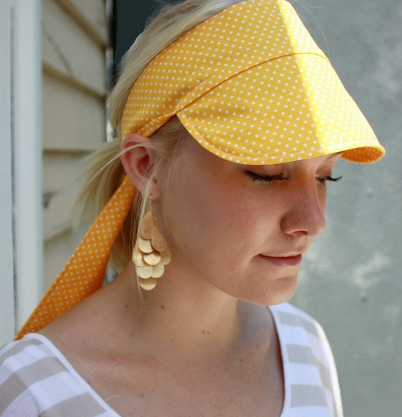 Tie back fabric sun cap - yellow white polka dot - 1950s style