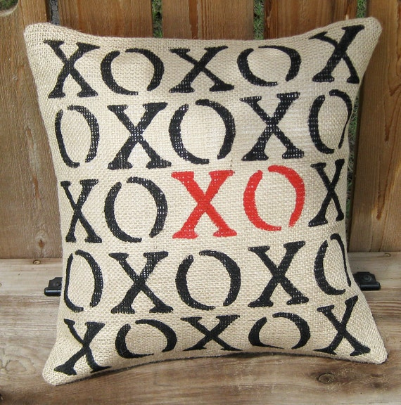 XOXO Wedding Engagement Valentine Pillow Cover Slip Home Decor Hand Stenciled Burlap Love