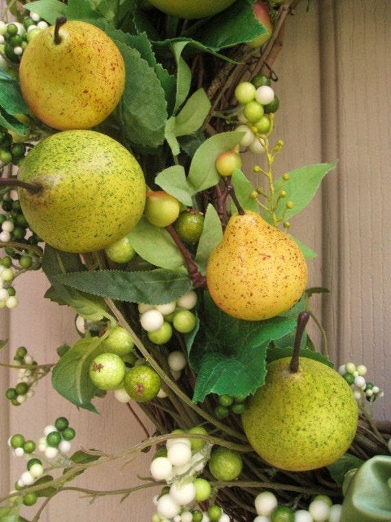 Падение двери венок, груши и яблоки, Осенний венок