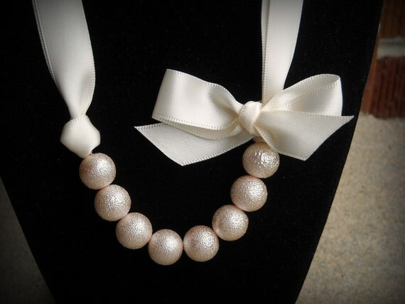 Light Pink and Cream Ribbon Satin necklace with glass pearls and bow