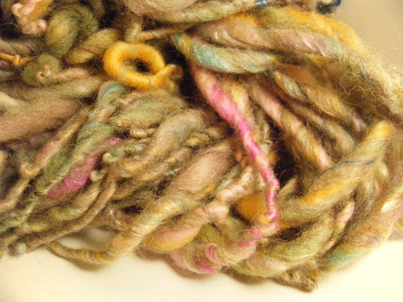 Handspun yarn art yarn bulky thick and thin singles Mothwing No. 2
