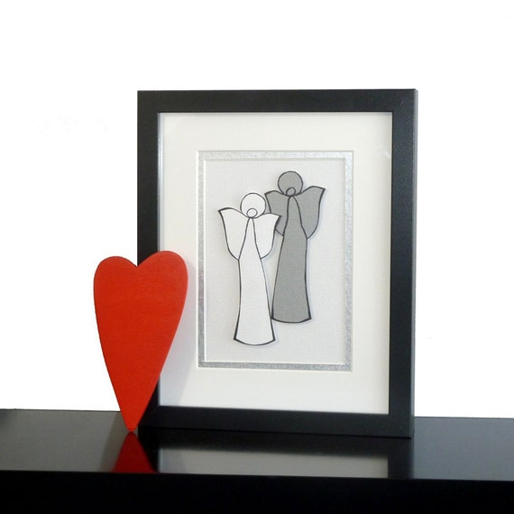 Framed Handmade Gift Paper Angel Couple White & Silver