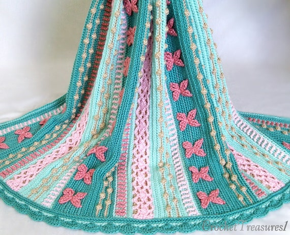 REDUCED PRICE - Mermaid Dreams Throw / new / handmade / afghan blanket  / green / pink / coral / sea shell / baby / spring / unique