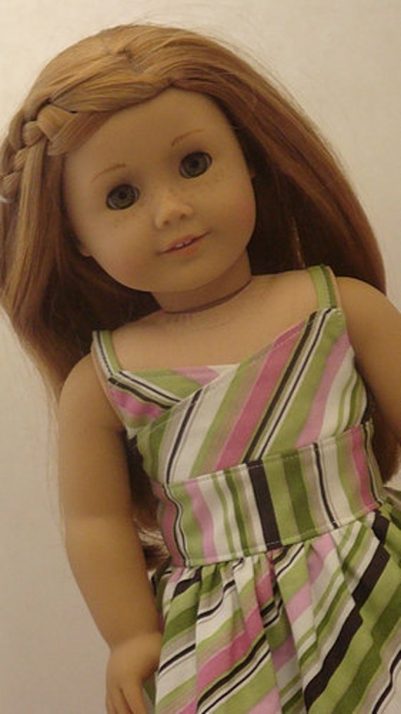 Wrap-Top Style Striped Sundress For American Girl Or Similar 18-Inch Dolls