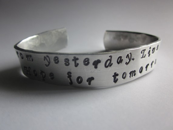 Custom Hand Stamped Aluminum 1/2 inch Bracelet YOU PERSONALIZE ((Names Dates Quotes))