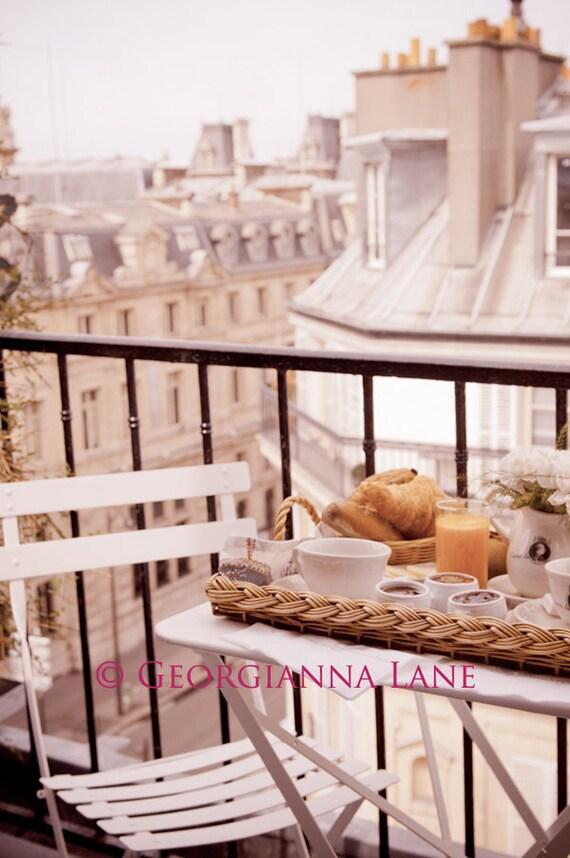 Paris Photo - Завтрак в Париже - Fine фотографии путешествий искусство балкон Париже, парижские крыши, городские architcture