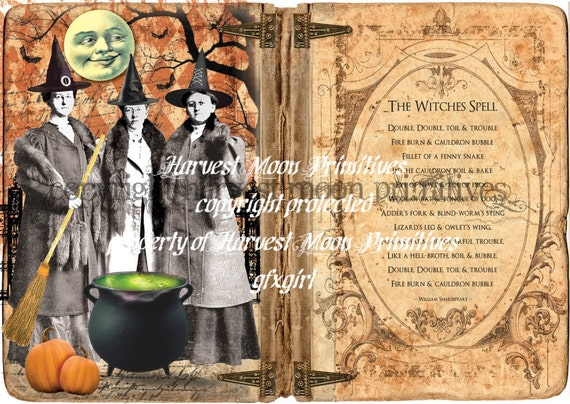 Primitive Halloween Cabinet Card - The Witches Spell
