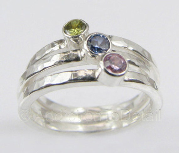 CYBER MONDAY / 3 Birthstone Rings / Handmade Silver Rings /                         Sizes 8.5 9 9.5 10 / Choose From 16 CZ Colors