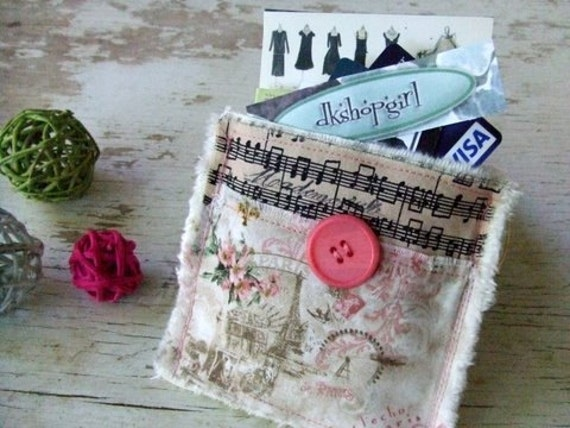 Shabby Chic Antique Inspired - Decorated Credit Card/Business Card Pouch  - Musical Paris