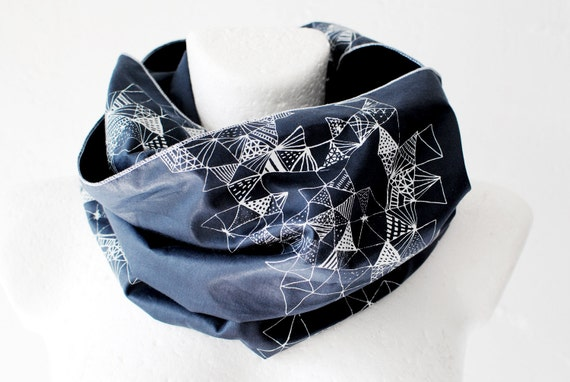 Triangles Screen-Printed Loop Circle Scarf infinity Spring