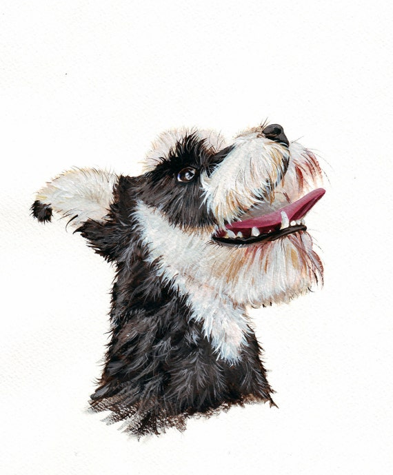 Schnauzer Dog Painting - print of acrylic painting