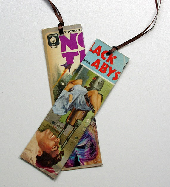 Two 1960s Sci Fi Bookmarks - Upcycled Book Covers