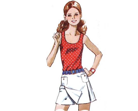 Vintage Sewing Pattern Mini Scooter Skirt Tank by mysweetiepiepie from etsy.com
