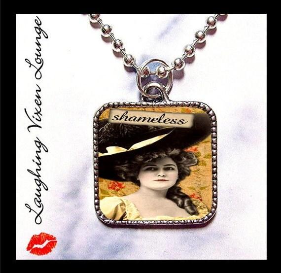 "Sassy Vintage Ladies ""Shameless"" Silver Pendant - Buy 2 Get 1 Free"