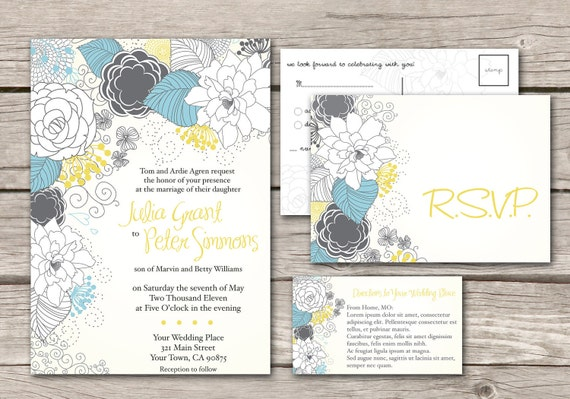 Wedding Invitation and RSVP customize modern floweral design yellow and