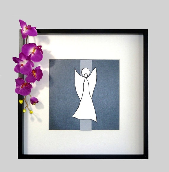 Framed Collage Art Dancing White Angel, Matted