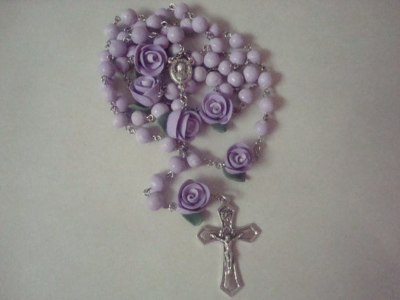 Purple clay bead and rose rosary