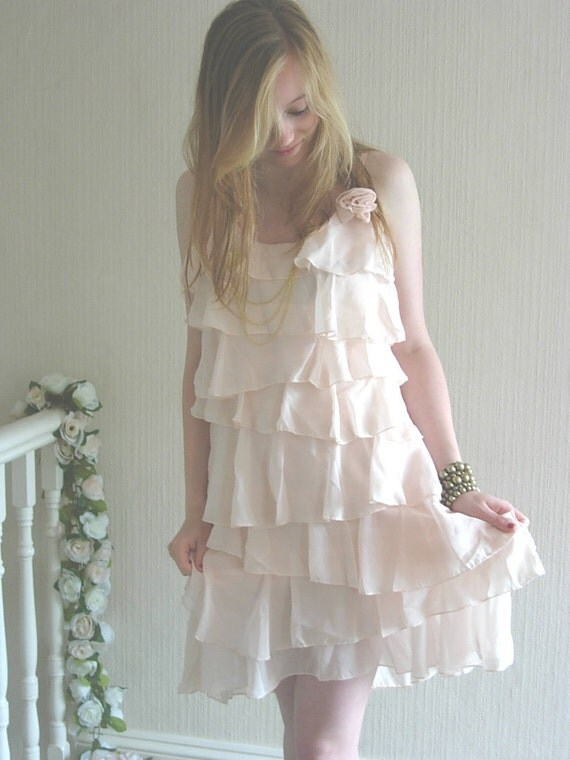 Ruffled Dress-Peachy Almond
