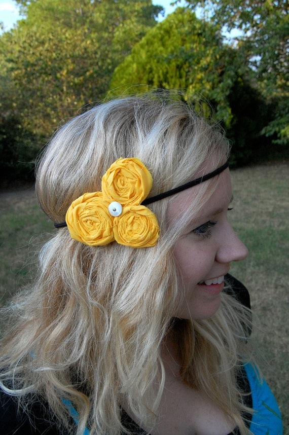 Sunshine Yellow Rolled Rosette Trio Stretchy Headband