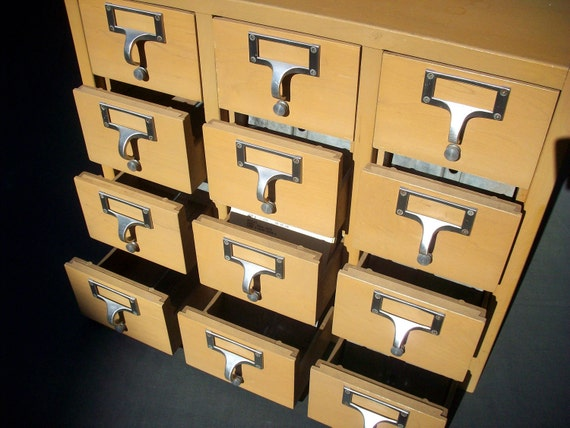 Vintage Library Card Catalogue Drawers File with 12 Drawers / Office