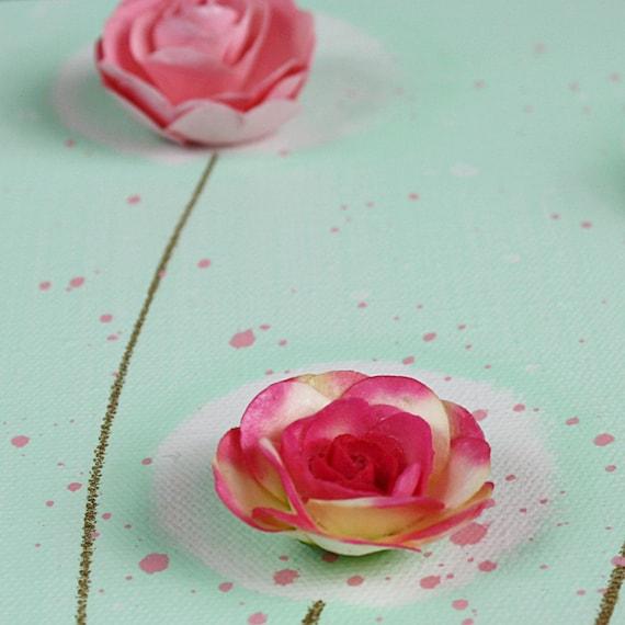 Большой Живопись Розы - Original акрил Триптих Холст 50x20 - Монетный двор зеленый и розовый Декор Детская