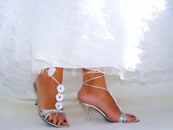 Wedding White Crochet  Flower Barefoot Sandals, Nude shoes, Foot jewelry, Victorian, Lace, Bride Bridesmaid