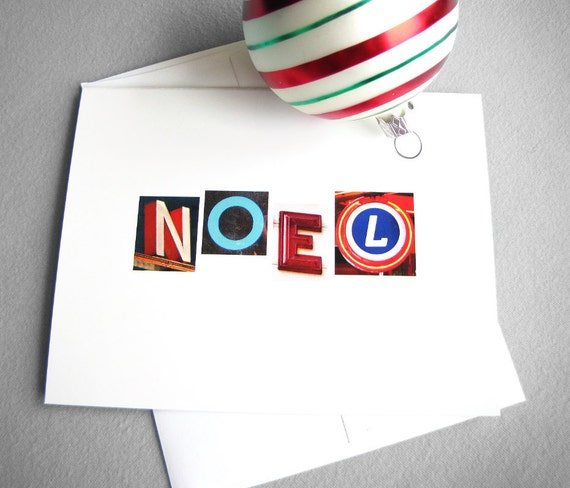 Christmas cards - Noel - Set of 5 colorful typography modern Christian Christmas cards