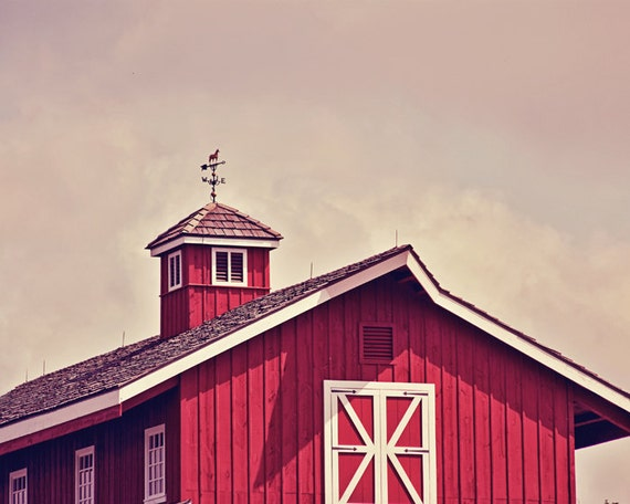 Red Barn at High Noon - 16x20 Fine Art Photography Print - Rustic Country Midwest Farm in Kansas with Weather Vane Home Decor Photo