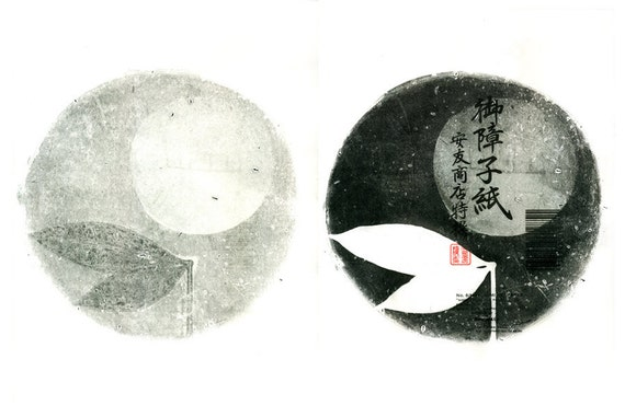 Double Moon, gelatin monoprints