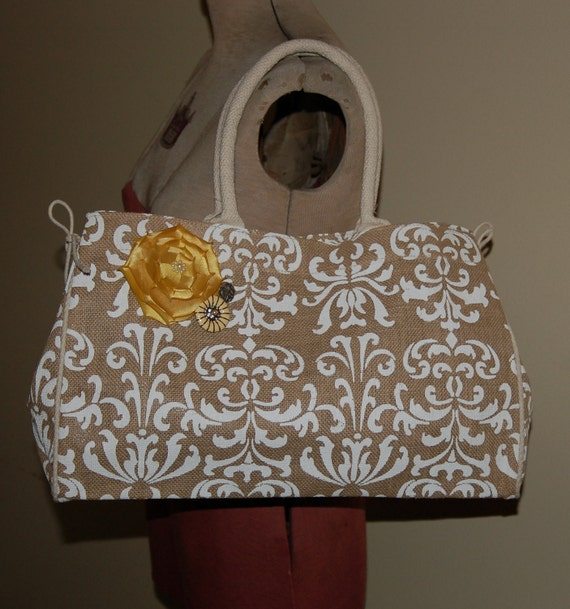 Burlap Damask Handbag with Yellow Embellishments